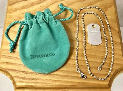 TIFFANY & Co. 2003 Sterling Silver Dog Tag Pendant w/ Beaded Chain 925 Coin Edge