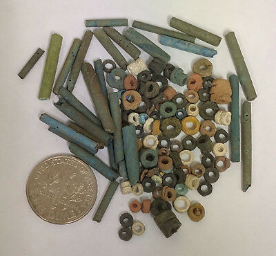More than a Hundred 2500 Year old Ancient Egyptian Faience Mummy Beads (K1436)