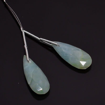 2 Pcs Drilled Aquamarine Pear Shape Faceted Gemstone For Earrings 24X10X4 mm