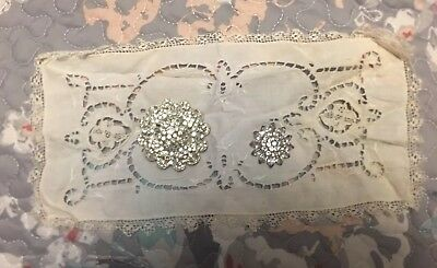 Small Antique Cream Embroidered Lace Cloth 1930s Era- Includes 2 Vintage Pins