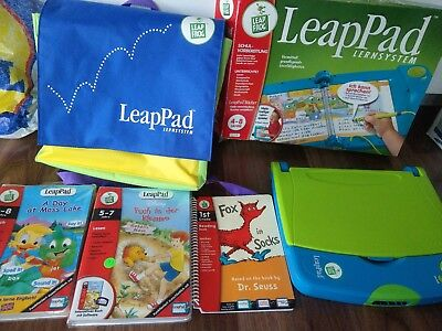 Leappad von Leapfrog inkl. Tasche OVP 3 Spiele FOX IN SOCKS, A DAY AT MOSS LAKE