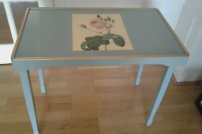 Lady Clare fold down table duck egg blue with pink rose