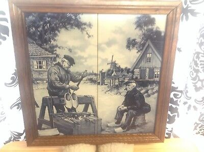 Framed Blue Delft Dutch Ceramic Picture,wooden Shoe Maker Scene, 4 Tiles