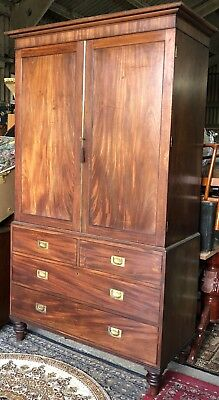 Large Antique Victorian Mahogany Brass Linen Press Complete With 5 Slides.