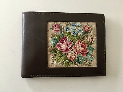Vintage Fine Needlepoint Petit Point Brown Leather Bi-Fold Wallet New Unused HTF