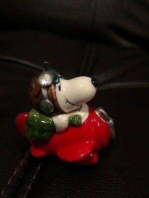 Vintage Peanuts Snoopy Ceramic Christmas Tree Ornament 1966 Flying Ace Japan