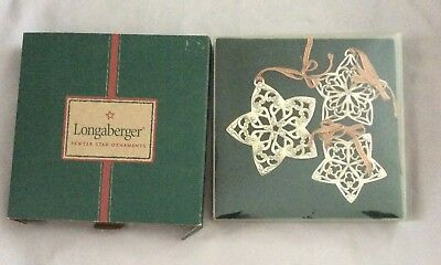 Longaberger 2001 Pewter Star Ornaments Set Of 3 PreOwned