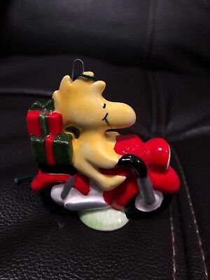 Vintage Peanuts Snoopy Woodstock Ceramic Christmas Tree Ornament 1972 Motorcycle
