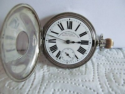 Antique fob pocket watch half hunter solid silver good condition and working