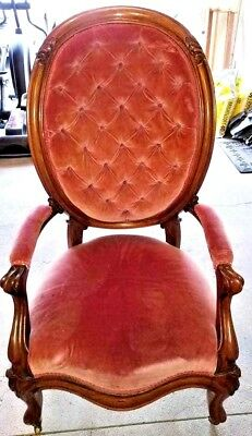 Antique Gentleman's Finger Roll Fireplace/Office Chair-Wood & Upholstery
