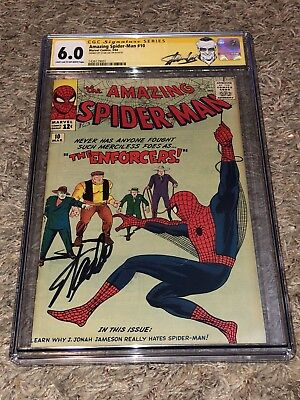 1964 AMAZING SPIDER-MAN #10 CGC 6.0 1st ENFORCERS SS STAN LEE signed RIP Kirby