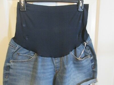 Maternity Shorts 16 Large NEW Denim Boyfriend Bottoms NWT a:glow Full belly