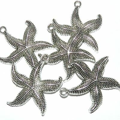 ML7125 Antiqued Silver 26mm Starfish Focal Pendant Charm 25pc