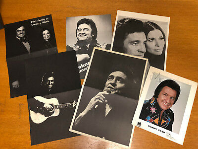 Lot of Vintage Johnny Cash Black and White Posters Tommy Cash Autographed Photo