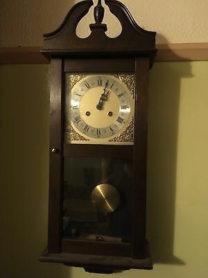 Traditional Antique Grandfather Wood Wall Clock with Chime Pendulum and Key..