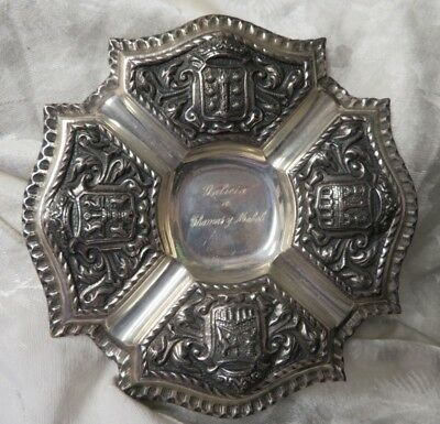"""ANTIQUE STERLING TRAY-COAT OF ARMS-ENGRAVED W/""""Galicia a Thomas y Mabel"""