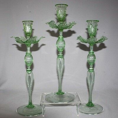 3 Antique SALVIATI VENETIAN / MURANO CANDLE HOLDERS Sticks LEAF BOBECHES