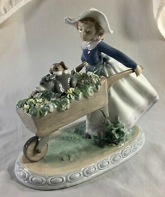Lladro A Barrow of Fun, #5460 girl with flowers and puppies