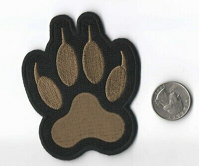 """WOLF / CANINE PAW PRINT IRON-ON /  SEW-ON EMBROIDERED PATCH 2 3/4""""x 3 1/2"""""""