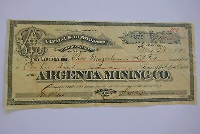 Argentina Mining Co stock certificate Nevada 1887 100 shares San Francisco