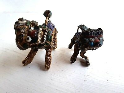 Antique Chinese Export Solid Silver Gold Cloisonne Foo Dog Vermeil Ornament