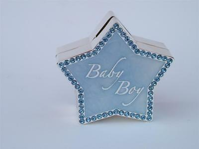 Baby Boy BLUE STAR SHAPE Silver Plated Crystals Money Box Christening Gift