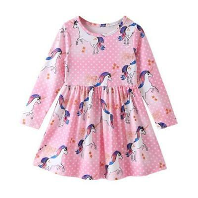S-077P Toddler Girl Pink Unicorn Dress (Ready to Ship from Ohio)(Free Shipping)