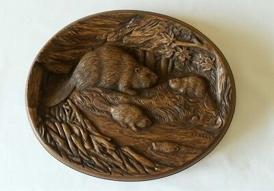 Vintage Karl Rothammer Wood Carved Reproduction Wall Plaque (Beaver Family)