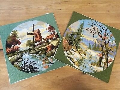 Two lovely vintage wool tapestry samplers of country autumn scenes