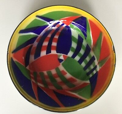 French Enamel Bowl, bright Art Deco design, kitchenware