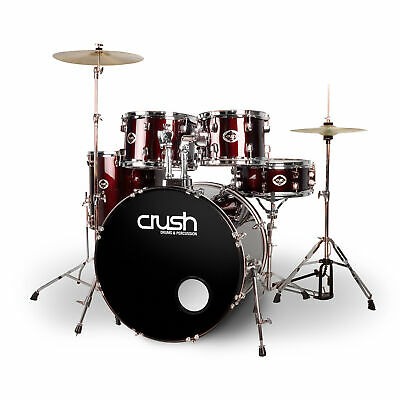 Crush Drums Alpha 5 Piece Drum Set Complete with hardware & cymbals - Wine Red)