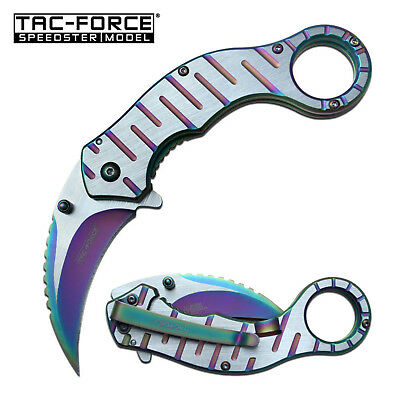 Tac Force Spring Assisted Folding Karambit Knife Rainbow & Satin Finish Tf-952Rb