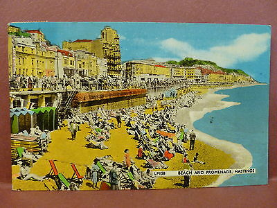 Old Postcard UK Hastings Beach and Promenade