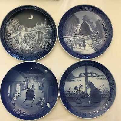 Royal Copenhagen Christmas Jul Plate Vintage Set of 4 Denmark
