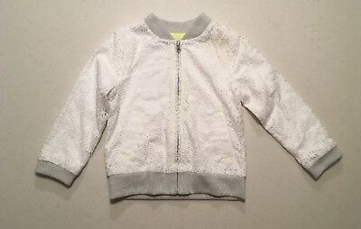 Cat & Jack White Eyelet With Gray Toddler Girl Zip Up Size 2T
