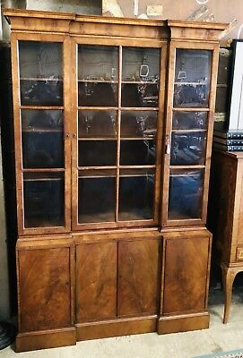 Antique Walnut Breakfront Library Bookcase Display Cabinet