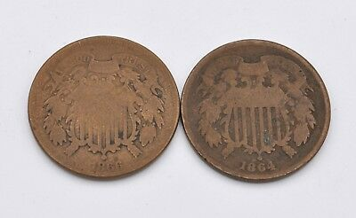 Set of 2 US Two Cent Shield Bronze Coins