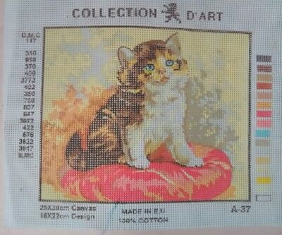 Tapestry Canvas Printed 30 x 25cm Kitten
