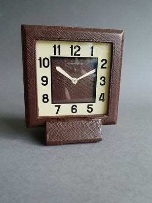Art Deco 1940's Jaeger LeCoultre 8 Day clock leather covered gwo