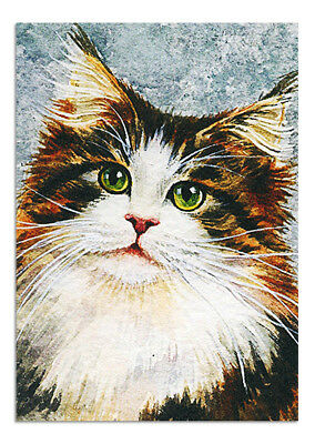 Beautiful Original Watercolour Painting Drawing Aceo Art Animals Picture Cat