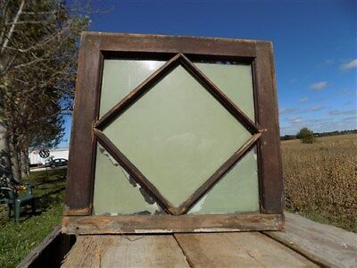 Window Wood Framed Decorative Glass Panel Architectural Salvage Vintage b