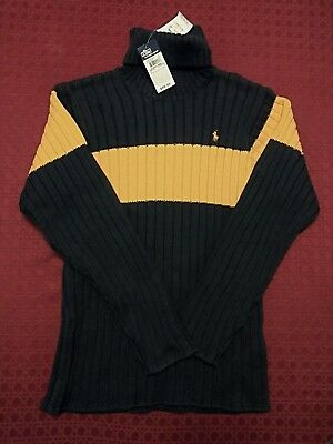 POLO- By Ralph Lauren, Navy with Yellow Stripe Turtleneck Sweater Boys Sz. XL/20