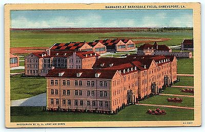 Postcard LA Shreveport  Barracks at Barksdale Field Vintage Linen D17
