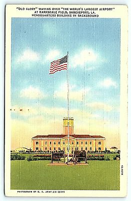 Postcard LA Shreveport Flag Over Barksdale Field Headquarters A3