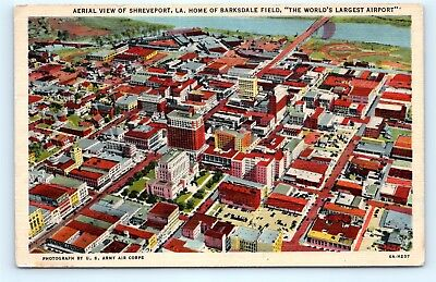 Postcard LA Shreveport Airview of City Home of Barksdale Field Vintage Linen D22