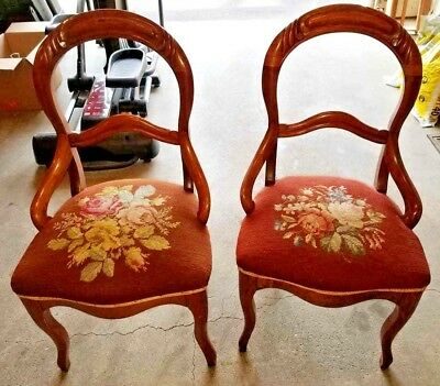 Pair of Antique Finger Roll Side Chairs---Floral Upholstery Seats