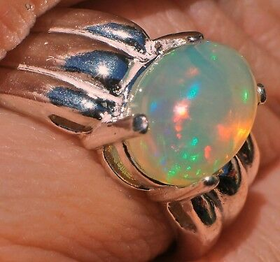 1.64ct Crystal ETHIOPIAN WELO OPAL 9x7mm Oval .925 Sterling Silver Ring Size 6.5