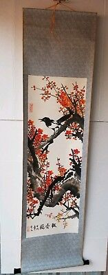 """CHINESE SCROLL Spring MEIHUA & MAGPIE 59"""" x 16"""" Hand Painted Signed Sealed VTG."""