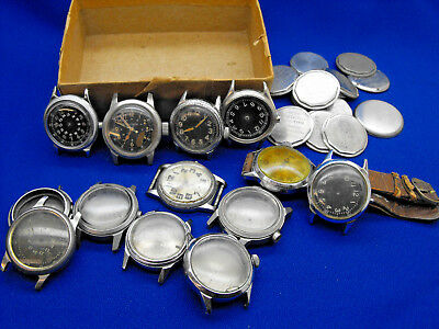 Vintage Lot World War Ii Watches Miilitary Wristwatches And Cases