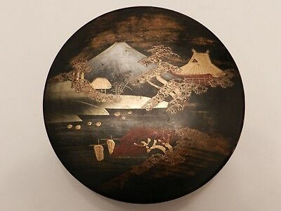 Charming Vintage Japanese Lacquer Hand Painted Trinket Box